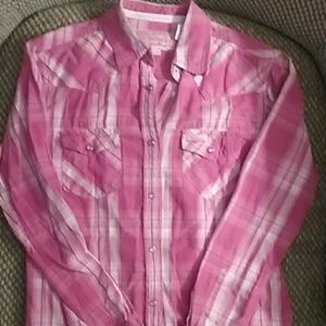 Cowgirl Hardware pink plaid shirt